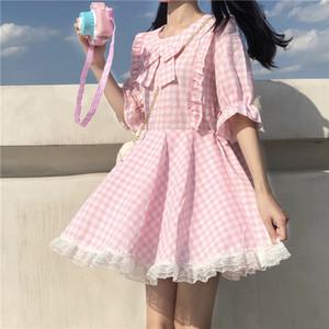 2020 한국어 New Lolita Pinkstyle Kawai Princess Dress 무거운 나비 핑크 드레스 소녀 파티 옷 레이스 프릴 높은 허리 드레스