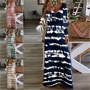 Ladies Stripe Printing Dress Fashion Trend Long Sleeve Round Neck Loose Long Skirts Designer Female Autumn New Plus Size Casual Dress