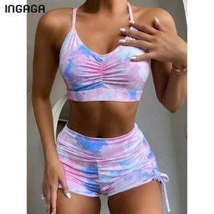 INGAGA High Waist Bikini Set Swimsuits Gradient Swimwear Women Ruched Biquini 2020 String Bathing Suit Women Push Up Beachwear 1006