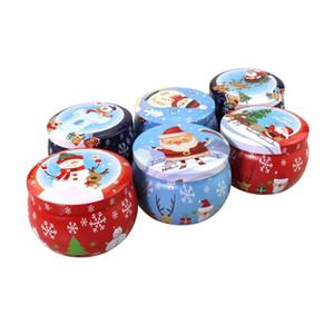 Mignon Noël Tinplate Boîte de Noël Père Noël Bonhomme de neige Elk Imprimer Bonbons Thé Bougie boîte aromathérapie bougie pot coloré Noël cadeau Boîte de rangement OWA1716