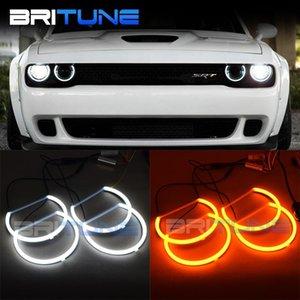 Britune Angel Eyes LED For Dodge Challenger Halogen Headlight Tuning Cotton Light Turn Signal Lamp Car Lights Accessories DIY