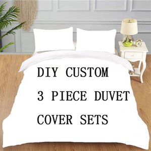 Customized bed three-piece set, quilt cover, bed sheet color digital full printed microfiber air conditioning quilt customized logo any size