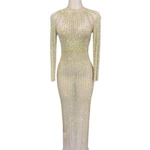 Strass Mesh transparent longues robes pour femmes mariage soirée Celebrate Prom Party Anniversaire Costumes Robe étape Voir
