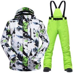 Лыжный костюм мужчины зима новая ветрозащитная водонепроницаемая термальная снежная куртка и брюки на лыжах и сноубордингами марок 201203
