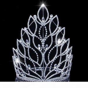 Baroque King Queen Big Tiaras Crowns Top Silver Crystal Rhinestone Wedding Pageant Bridal Hair Accessories Headband Crowns JCI108