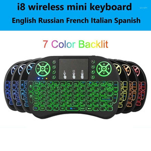 2.4G Wireless Keyboard Backlit I8 Mini Keyboard Air Mouse English Russian Spanish French Remote Control for Android TV BOX1