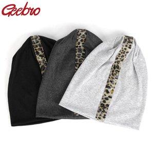 Geebro Nouveau Femmes Leopard strass extensible unisexe coton Beanies Casual pour les filles Homme Printemps Skullies Chapeau Casquettes Bonnets DT908