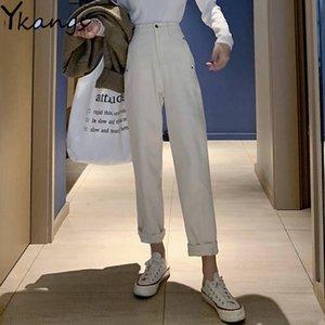Mamãe Vintage Mamães Calças De Jeans Branco Mulheres Algodão Alta Cintura Harem Denim Pant Feminino Bege Boyfriend Nine Ankle Jeans Streetwear LJ201014