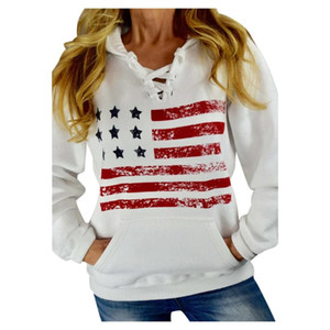 Fashion Plus Size Womens Autumn Winter Long Sleeve Flag Print Plus Velvet Hoodie Sweatshirt Casual Warm Pullover White Tops