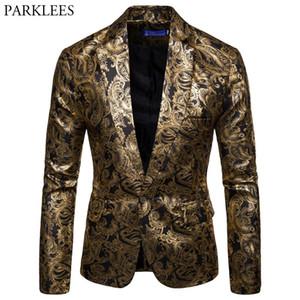Mens Gold Paisley Bronzing Steampunk Blazer Jacket DJ Nightclub Prom Stage Suit Blazer Men Slim Fit One Button Blazer Masculino 201104