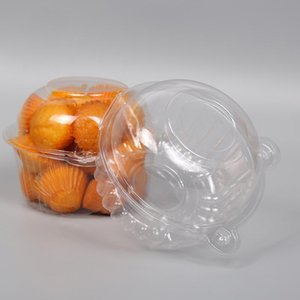 100pcs 11*85mm Disposable Transparent Cat Head Plastic Box Single Cupcake Muffin Dome Boxes Pastry Cake Gift Box Organizer