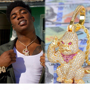 Iced Out 3D Big Orangutan Pendant Iced Out Lab Diamond Gold Silver Plated CZ Tennis Chaain Mens Hip Hop Jewelry