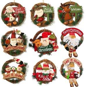 The latest 35CM Christmas wreath Santa Claus snowman deer solid wood rattan rattan ring pendant Christmas decoration door hanging