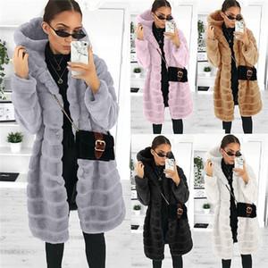 Gevşek Bayan Faux Kürk Kalın Sıcak Kapüşonlu Kışlık Mont Artı Boyutu Polar Kadınlar için Polar Faux Vizon Kürk Ceket