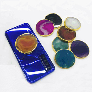 Creative Real Agate Stone Gold Foil Edging Cell Phone Holder Universal Finger Holder Grip Expandable Stand Bracket With Opp Bag Package
