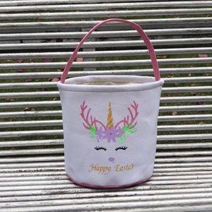 Pascua brillo unicornio canasta niños huevo caramelos de mano bolso bárbaro bucket bolsas bolsas de peluche de dibujos animados lienzo bolso de asas mar marítimo llama129
