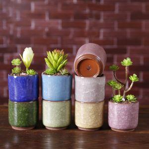Pot de fleurs de fleurs de la glace fissurées Mini-Céramique de fleurs colorées pour la décoration de bureau Planteurs de plantes en pot de viande 8 couleurs maritime d'expédition T3I51705