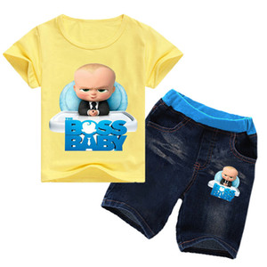 2-16Years 2019 Summer Boss Baby T-shirt Jeans Denim Shorts 2pcs Set Kids Clothes Sets Toddler Girls Summer Clothing Boys Suits Y200831