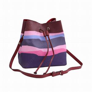 A alta qualidade das mulheres moda NÉONOÉ médio bolsas em bolsas de lona senhoras couro ombro crossbody sacos Bucket Bolsas carteira Clutch BagsM45126