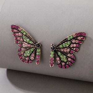 Tocona Luxury Colorful Crystal Stone Butterfly Stud Earrings for Women Trendy Lovely Animal Boho Jewelry Gift Brincos 16606