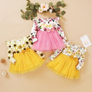 New Autumn Girls Long Sleeve Floral One Letter Print Dress Baby Bow Princess Dress Kids Clothing
