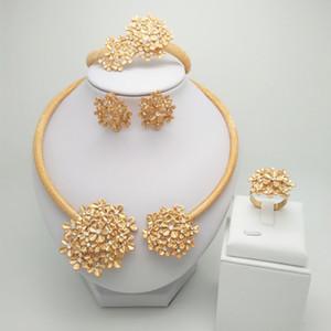 Kingdom Ma Nigerian Wedding Bridal African Gold Color Jewelry Set Dubai Necklace Bracelet Earrings Ring Sets LJ200918