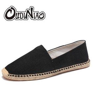 Oudiniao Hemp Wrap мужская обувь весна Espadriilles мужчины холст обувь мужчины дышащие мужские мокасины скольжения на твердой черной белом LJ201123