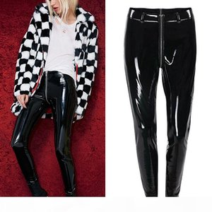 Black Red Women Sexy Shiny PU Leather Leggings With Back Zipper Push Up Faux Leather Pants Latex Rubber Pants