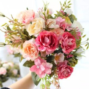 Peony DIY Party Decoration Vintage Silk Artificial Flowers Small Rose Wedding Fake Flowers Festival Supplies Home Decor Bouquet