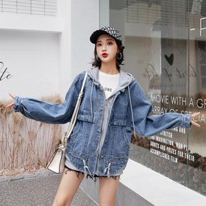 2020 Fashion The New Loose Fake Two Pieces Splice Hooded Denim Jacket Free Shipping