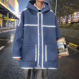 Winter Reflective Woolen Coat Men's Warmth and Fashion Casual Capucha Capucha Capa de lana Hombres Coreano Extranjero Muestra Overcoat1