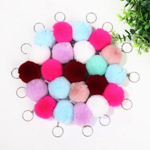 Keychain Pom Pom Solid Car Keychain Handbag Backpack Pendant Women Key Ring Faux Rabbit Fur Wool Ball Bag Key Chain Accessories BED1339