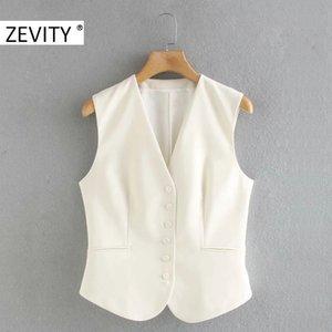 ZEVITY Frauen arbeiten feste Farbe EINREIHIGER Jacke Bürodamen sleeveless beiläufige dünne Weste Geschäft Tops CT569 1023