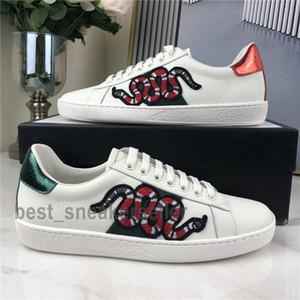Новый стильный Мужчины Женщины Повседневная обувь с низким плоским Матовый кожа кроссовки Ace Bee Чистка Змея Сердце Chaussures Тренеры Зеленый Красный Stripes Вышивка
