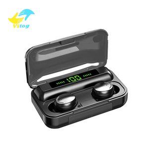 Vitog F9-5c TWS sans fil Bluetooth écouteurs oreillettes 5.0 casque stéréo tactile 9D Sport Musique affichage LED étanche casque avec micro