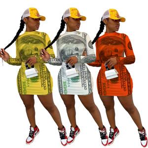 Mujeres Dallor Skinny Vestido de manga larga Cuello de la tripulación Bodycon Vestidos Female Pack Hip Ropa