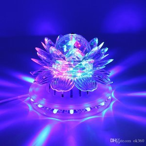 Lotus Effect Lamp Auto Rotating 11W LED RGB Crystal Stage Light 51pcs Bead Lamp for Home Decoration DJ Disco Bar Best Gift