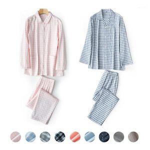 Ekose Baskı Unisex Yetişkin Çift Pijama Gazlı Bez Pamuk Pijama Set Uzun Kollu Pijama Femme Homewear PJS 2 ADET Ev Giyim1