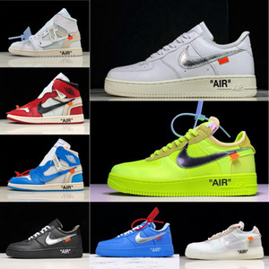 Nike air force 1 React AF1 Air OFF white OW 1 Black White Dunk Volt Mens one low UNC Trainers designers sneakers Shattercw0W#