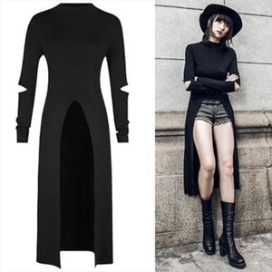 2020 Newest Dress Women Fashion Autumn Punk Gothic Streetwear Long Sleeve Runway Bodycon Sexy Hole Pour V Dress Vestidos