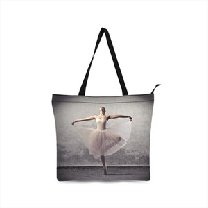 girls Canvas Bags ballet design Shoulder Sackbag Shopping Tote Holiday Beach Bag Casual Totes zipper closure Handbags for women