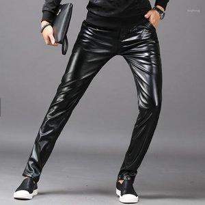 Pantalons en cuir pour hommes Style Slim Style Imperméable Huile Trousers Trousers Mince Sexy Pieds Fond Automne Hiver Streetwear Hommes Vêtements 20201