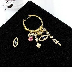 New Fashion Blue Eye Zircon Alloy Stud Women Earrings High-Grade Rhinestone Eye of Devil Asymmetric Earrings Heart &Lucky