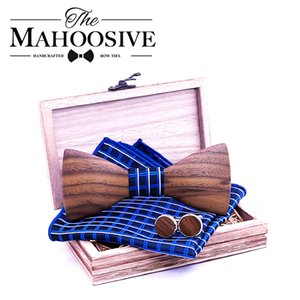 3D Men Wooden Bow Tie Set BowTie and Handkerchiefs Cufflinks Necktie For Business Wedding Party Hombre new year Gift 201028