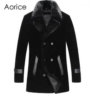 Aorice MT8106 natural real fur lamb wool coat for men short collar casual Shearling genuine leather jacket warm thick1
