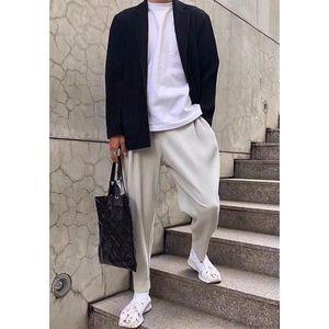 pantaloni diritti casuali degli uomini Miyake pieghettate harem pants tendenza sciolti nove punti di jogging pantaloni uomini 2005 201109