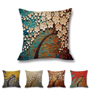 Oil Painting Style Pillow Case Lover Decor Season Life Tree Decorative Waist Throw Pillow Cover Cases