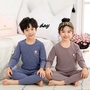 Children's boys and set cloth cotton wool girls' Veet thermal underwear pants baby autumn winter fever pajamas Y56DER4E