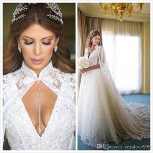 2021 Vintage Full Lace Wedding Dresses With Cape Deep V-neck A-line Bridal Dresses Sweep Train Saudi Arabic Designer Wedding Gowns