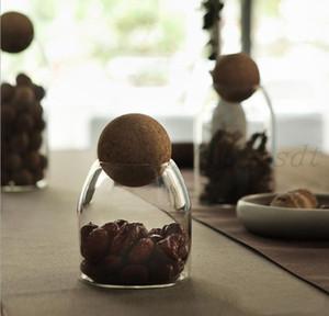 Sealed cans cork ball plug, high borosilicate transparent glass bottle set tea leaf pot, kitchen food cereals storage tank